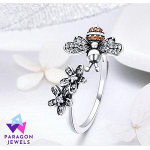 Honey Bee Sterling Silver Ring Trendy Flower Gems